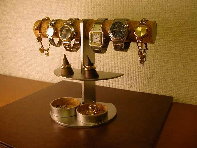 画像1 アクセサリー 収納!6本掛け腕時計ディスプレイスタンド*丸トレイ・